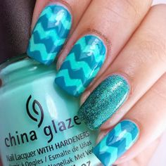 Teal Chevrons created for #randomnailartmay Full details can be found on my blog for how I created this mani. Follow me at http://instagram.com/roselynn787 #nail #nails #cutenails #naildesign #nailart #polish #cute #chevrons #teal