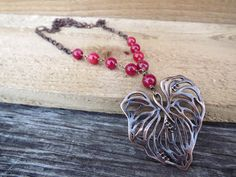 Copper heart pendant and dyed jade gemstone wire by Amayeli, $24.00
