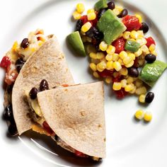 Black Bean Recipe: Quesadillas With Corn Salad. And unlike the take-out version, this will help you slim down south of the border--one serving of this black bean recipe has nine grams of belly-fat-fighting fiber. could do cold for a healthy lunch Mexican Food Recipes, Vegetarian Recipes, Cooking Recipes, Fast Recipes, Mexican Cookbook, Budget Recipes, Vegan Meals, Cooking Tips, Healthy Recipes