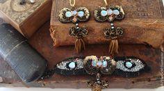Купить Серьги и браслет с антикварными кистями Triumph - золотой, черный, голубой, серьги с кристаллами, Сваровски