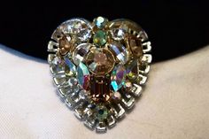 SALE ITEM - REDUCED VINTAGE 1950s Glass Rhinestone HEART Figural Silver Plate Brooch  #Unbranded