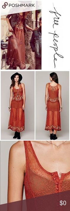 Free People Cross Stitch My Heart Slip Free People Cross Stitch My Heart Slip  *NOT CURRENTLY FOR SALE*  Sleeveless lace maxi slip featuring cross stitched florals and embroidered ruffle trimming at waist and bottom hem. Button closure down the center back of bodice. Free People Intimates & Sleepwear Chemises & Slips