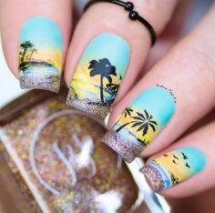 Uñas Increibles Beach Nail Art, Beach Nail Designs, Beach Nails, Nail Art Designs, Tropical Nail Designs, Nails Design, Urban Nails, Sunset Nails, Palm Tree Nails