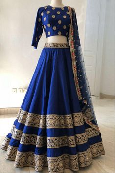Taffeta Silk Lehenga Choli In Blue Colour