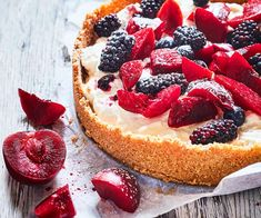 In this Nici Wickes pie recipe, a sweet biscuit crust is filled with tangy goat's cheese and soft whipped cream, then piled up with handfuls of chopped plums and berries. It's a truly fabulous dessert! Cream Pie, Whipped Cream, Pie Recipes, Cooking Recipes, Decadent Cakes, A Food, Food Processor Recipes