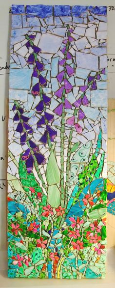 'Foxgloves' made with my hand painted tiles…(sold)