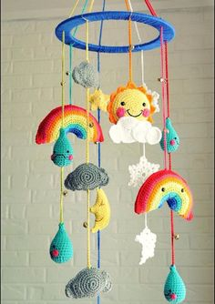 Rainbow cloud rain mobile