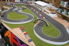 slot car table : Do sprint iphone have sim card slots Ho Slot Cars, Slot Car Racing, Slot Car Tracks, Train Tracks, Drag Racing, Spas, Diorama, Rc Track, Cars