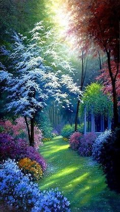 Beautiful painting idea of a flower garden with flowering trees and sun shining through. Nice depth.
