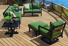 Modern, sophisticated, and oh so comfy - Seville deep seating from Gensun Casual Living. Outdoor Seating, Outdoor Rooms, Outdoor Living, Outdoor Furniture Sets, Outdoor Decor, Steel Sofa, Seville, Relax, Patio