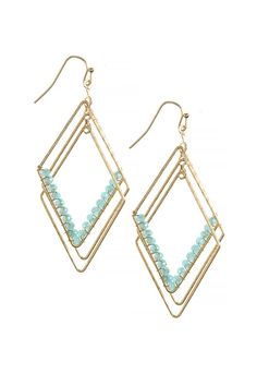 """Faceted bead multi diamond shape earrings add that little bit of color and shine your outfit is looking for! Drop is approx. 3.0"""" with fish hook. Lead/Nickel compliant. Faceted Bead Earrings by AL Boutique. Accessories - Jewelry - Earrings California"""