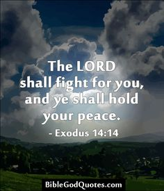 ✞ ✟ BibleGodQuotes.com ✟ ✞ The LORD shall fight for you, and ye shall hold your peace. - Exodus 14:14