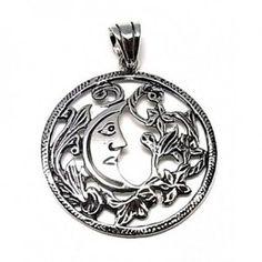 Colgante de plata de primera ley liso con una luna oxy de 3,5 cm de diámetro