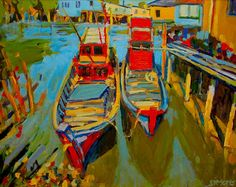 """""""2 Boats"""" 24x30"""" acrylic/canvas  http://www.briansimons.com"""