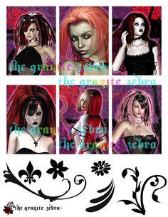 Gothic Girls Goth ACEO Background Stock by TheGraniteZebra on Etsy