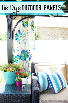 Tulip Tie Dye Outdoor Gazebo Panels ... bring on the color! www.chaoticallycreative.com #outdoorliving #porchdecor #curtains