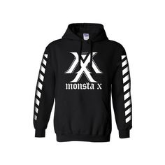 Munky Pop — MONSTA X STRIPE ON SLEEVES (MEMBERS NAME ON BACK) HOODIE ❤ liked on Polyvore featuring tops, kpop, stripe top, striped top and sleeve top