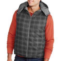 Men's Reversible Plaid Buffalo Vest, Size: Large, Black