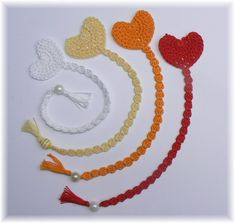 Set of 4 Crocheted Bookmarks-Hearts,, Ready to ship Crochet Bookmark Pattern, Crochet Bookmarks, Crochet Cross, Love Crochet, Crochet Gifts, Easy Crochet, Crochet Flowers, Crochet Lace, Crochet Stitches