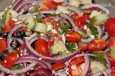 Recept - Klasický grécky šalát Caprese Salad, Lchf, Feta, Treats, Red Peppers, Sweet Like Candy, Goodies, Sweets, Snacks