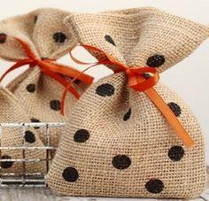 Burlap Polka Dot Treat Bags