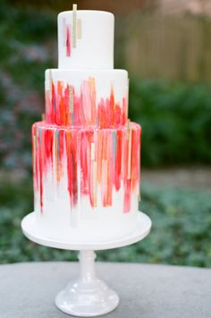 Amazing painted cake | Garden Wedding Inspiration Samantha Kirk Photography