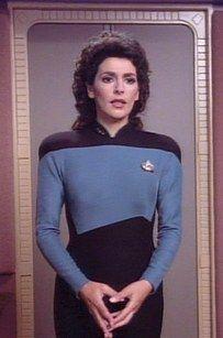 "Worf And Troi Try To Identify Their Looks From ""Star Trek: The Next Generation"" Star Trek Bridge, Deanna Troi, Marina Sirtis, Girl Actors, Star Trek Cosplay, Star Trek Images, British American, Star Trek Ships, Female Characters"