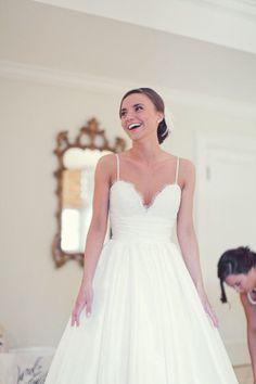 Spaghetti straps lace bodice with taffeta skirt gorgeous wedding gown on Etsy, $299.00