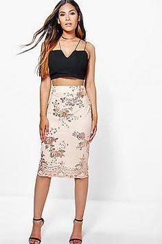 Boutique Naja Sequin Mesh Overlay Midi Skirt