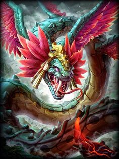 Cool Concept Art by Brolo Dragon Fantasy Myth Mythical Mystical Legend Dragons Wings Sword Sorcery Magic Fantasy Dragon, Dragon Art, Fantasy Art, Mythical Creatures Art, Mythological Creatures, Feathered Serpent, Mythical Dragons, Aztec Warrior, Aztec Art