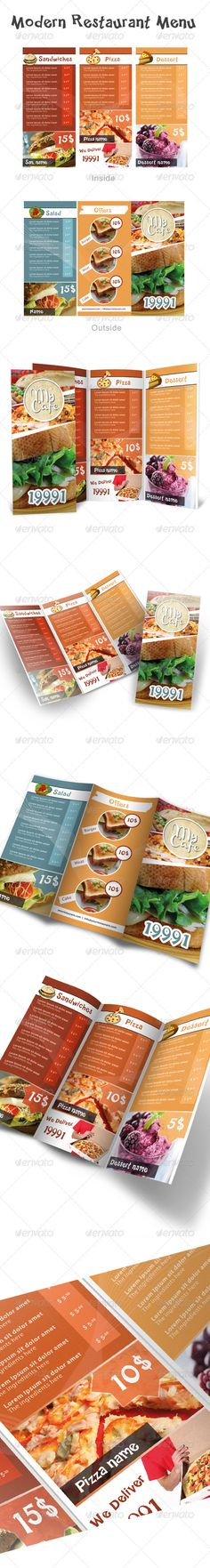 Modern Restaurant Menu  #GraphicRiver         MODERN RESTAURANT MENU    This high quality professional brochure Used for restaurants and food related businesses.   WHAT DO YOU GET ?   - Restaurant brochure (DIN Long Size, trifold)   - Help File   - Preview   It is very easy to add your own images.   READY FOR PRINTING !   All the files are print ready. 300 DPI , CMYK with margins.   FONTS :  Myrid Pro  .fontshop /search/?q=myriad Happy Sans  .dafont / happy-sans.font  Please note…