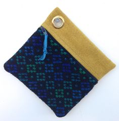 Vintage Welsh Tapestry and Pure Wool Zipped Pouch Black Blue Jade Gold - Key Chain, Coin Purse, Cards, Treats by didyoumakeityourself on Etsy
