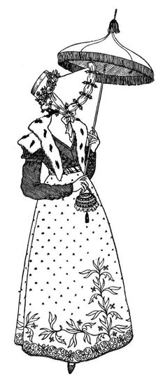 Regency Fashion Day Dress Bonnet And Parasol To Color