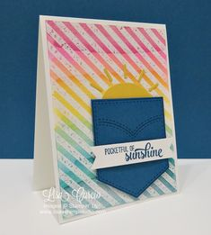 Rainbow of embossed resisted stripes with a denim pocket and sunbeams. Stampin' Up! Pocketful of Sunshine, Diagonal Stripes. Card Making Supplies, Card Making Tutorials, Card Making Techniques, Craft Supplies, Pocket Craft, Studio Cards, Rainbow Card, Cool Cards, Kids Cards