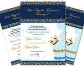Boy Prince Guess Belly Game,   Tummy Guess  game Printable Card for Baby Prince  Shower DIY Blue Gold Royal- ao66bs43
