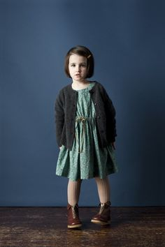 Pulmia dress in turquoise ditsy flower, with gray knit jumper- Caramel Baby & Child
