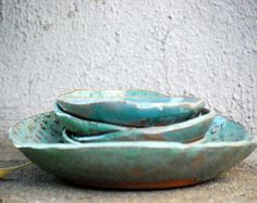 Set of two bowls handmade pottery decorative by claylicious