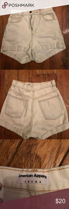 American Apparel Jean shorts White high waisted Jean shorts American Apparel Shorts Jean Shorts