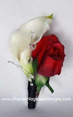 red roses and white lilies wedding bouquet - Google Search