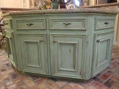 green glazed kitchen cabinets - Google Search