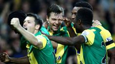 Nov. 7th. 2015: Jonny Howsen and his Norwich colleagues celebrate the only goal in a home win over Swansea City.