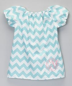 Aqua & White Zigzag Monogram Dress - Infant, Toddler & Girls by Enchanted Everyday #zulily #zulilyfinds