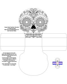 Don't Eat the Paste: Día de los Muertos Sugar Skull Boxes template Printable Box, Printables, Paper Toys, Paper Crafts, Craft Projects, Projects To Try, Day Of The Dead Skull, Free Coloring Pages, Halloween Crafts