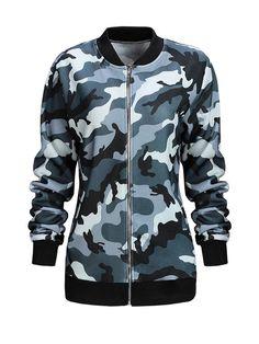 Camouflage Band Collar Bomber Jacket