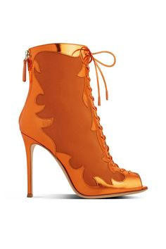 Gianvito Rossi Orange Metallic Lace-Up Boots Fall 2014 #Shoes #Booties #Heels =