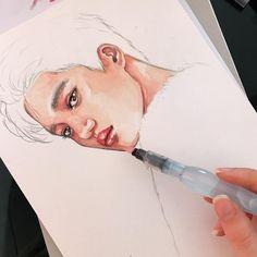 Watercolor Sketch, Watercolor Portraits, Watercolor Illustration, Portrait Sketches, Portrait Art, Exo Kai, Chanyeol, Wallpaper Wall, Exo Fan Art