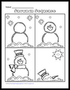 Using this worksheet for students to color,cut and paste onto writing pages to create a how to booklet on building a snowman.