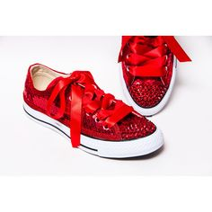 12f8a1243f2a Sequin Red Canvas Converse Low Top Sneakers Tennis Shoes With Crystal...  (£95) ❤ liked on Polyvore featuring shoes