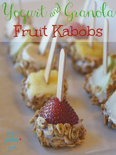 Yogurt & Granola Fruit Kabobs {Low Carb} {Diabetic Friendly}