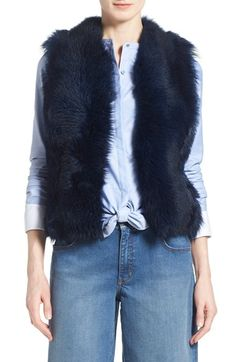 Olivia Palermo   Chelsea28 Genuine Shearling Peplum Vest available at #Nordstrom